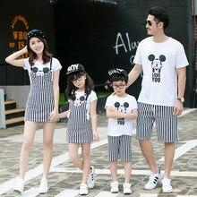 2016 Mode Famille Correspondant Blanc Vêtements Ensemble D'été de Bande Dessinée Mickey Chemise + Pantalon Rayé/Robe Famille Look Minnie Vêtements ensemble
