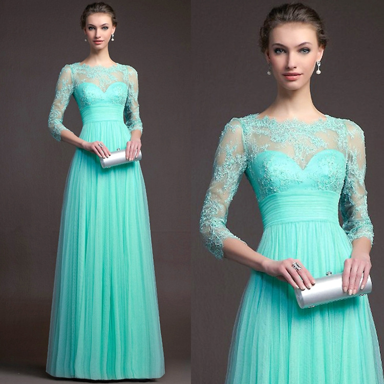 New 2019 New Tiffany Blue Long Modest Bridesmaid Dresses With 3 4 Sleeves LaceTulle Floor Length