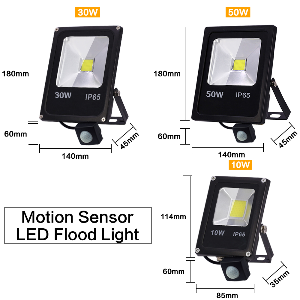 Image 2 - Motion Sensor LED Flood Light 220V 50W 30W 10W Waterproof IP65 Reflector Floodlight Lamp foco Led Exterior Spot Outdoor Light-in Floodlights from Lights & Lighting