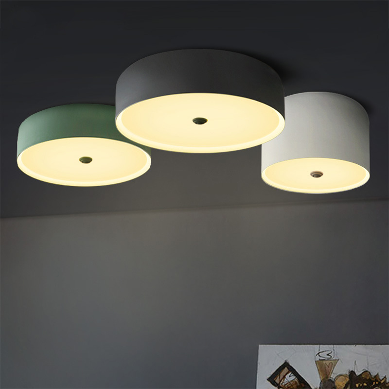 Nordic Modern Living Room LED Ceiling Lamp Round Bedroom Lamp Simple Iron Restaurant Light Cafe Lamp Free Shipping