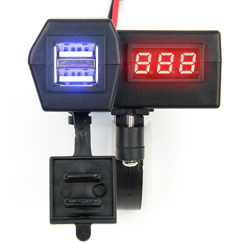 New Waterproof 12V Motorcycle ATV Scooter With LED Digital Display Voltmeter Voltage Dual USB Power Socket Charger Power Switch