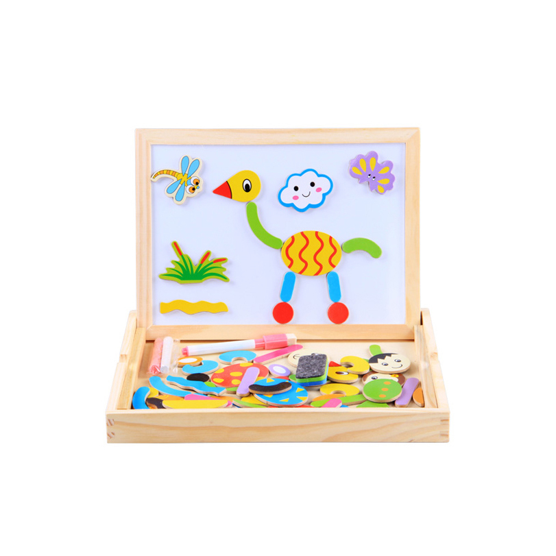 Chanycore Baby Learning Educational Wooden Toys Puzzle Jigsaw Board Animal Cartoon Characters Blackboard Matching Gifts 4065