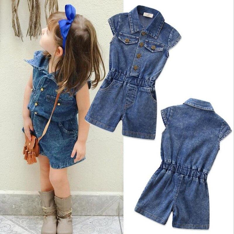 2019 Nieuwe Zomer Kinderen Meisje Denim Overalls Mode Katoenen Mouwloze Jeans Jumpsuit Bandjes Korte Broek Cowboy Blauw Voor 2-7year
