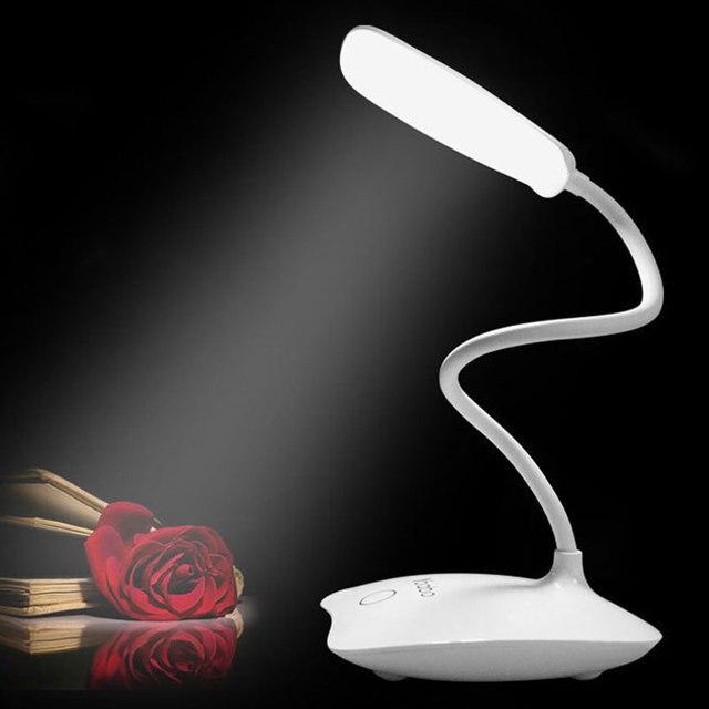Перезаряжаемый СВЕТОДИОДНЫЙ Свет Рабочий Стол Мини Рядом Лампы Затемнения Сенсорный Выключатель Яркий Настольная лампа Для Чтения Ночник Теплый/Желтый Белый