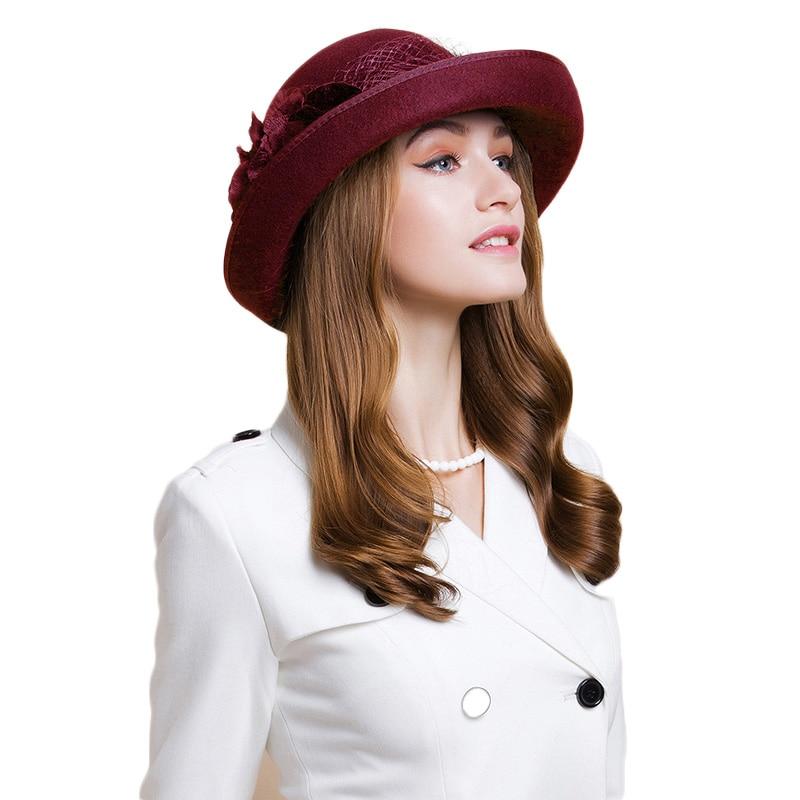 FS estilo británico negro mujer Lana fieltro Fedora gasa con flor de invierno rizo de ala ancha sombrero mujer niñas boda sombreros - 2