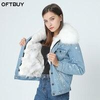 Бренд 2019, осенне зимняя куртка, пальто, женская джинсовая куртка с дырками, настоящий большой воротник из меха енота и натуральный Лисий мех,