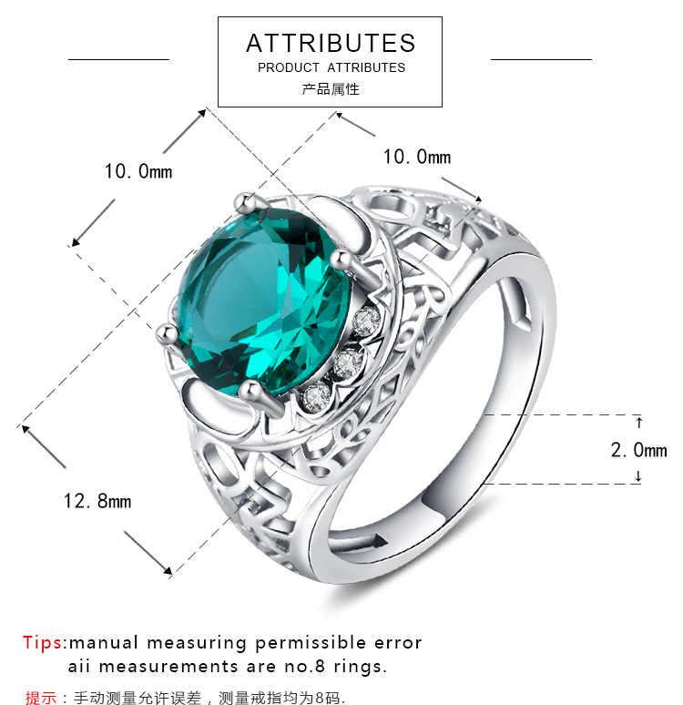 925 סטרלינג כסף זירקון פירסינג CZ אבן טבעת דוגמניות שולי סט גבירותיי אצבע ים כחול זירקון גבירותיי טבעת