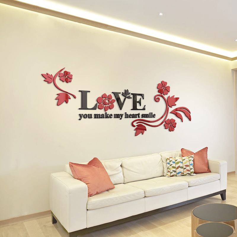 Love Acrylic Mirror Decorative Stickers 3d Bedroom