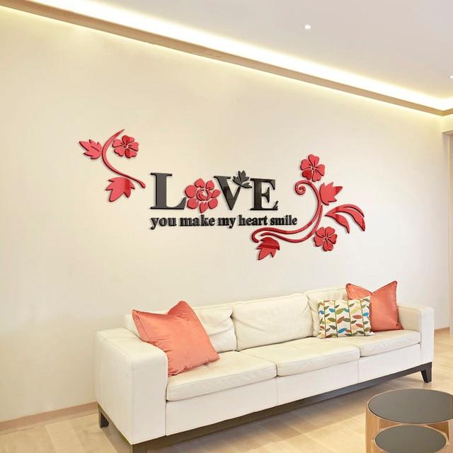 Love Acrylic Mirror Decorative Stickers 3D Bedroom ...