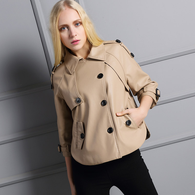 UUV Leather Jacket Women New 2016 Autumn Windbreaker Loose Style 3 Buttons Three Quarter Sleeve Blouson