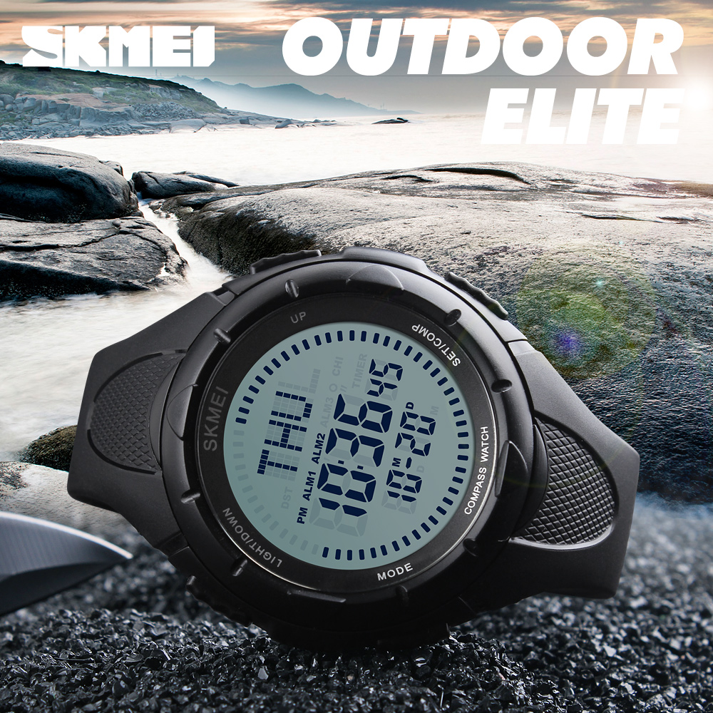 SKMEI brand Men Sports Watches World Time Compass Countdown Wristwatches Waterproof Outdoor Digital Military Watch Mans Clock все цены