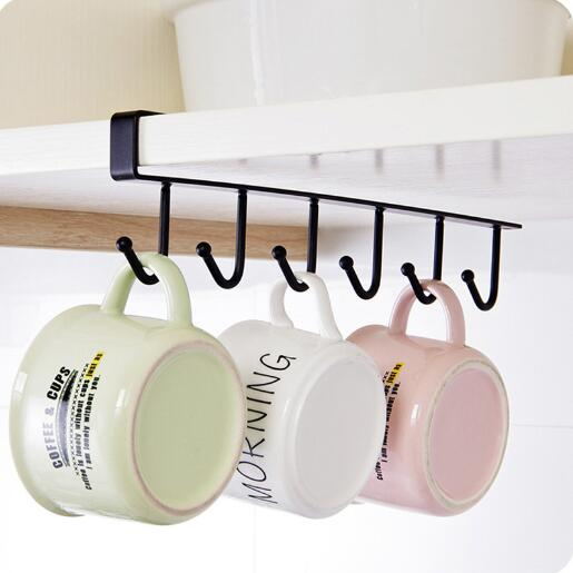 Cup & Tumbler Holders Bathroom Hardware Kitchen Storage Rack Wardrobe Hanging Cup Coffee Organizer Wardrobe Clothes Coat Rack Wardrobe Glass Mug Holder Yh1622 Harmonious Colors