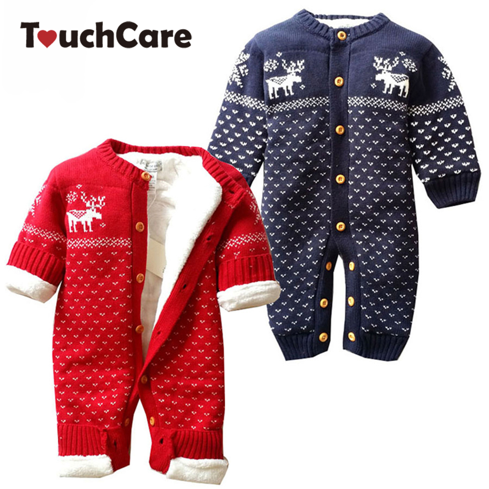 Winter Warm Cotton Cartoon Christmas Deer Baby Boy Girl RomperS Newborn Cute Fleece Long Sleeve Kids Clothes Toddler Jumpsuit цена