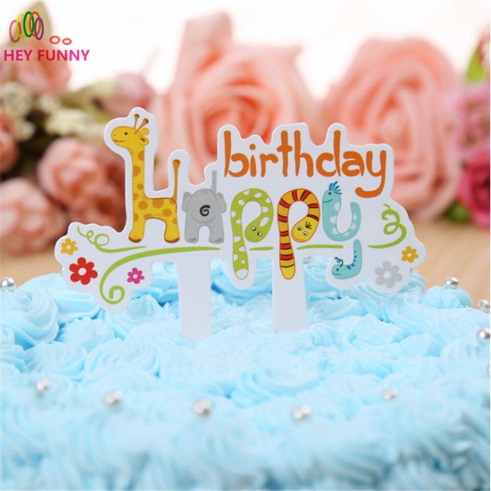 HEY FUNNY 1pc Cartoon Giraffe Zoo animals Child Happy Birthday cupcakes toppers picks Cake insert cap wedding party Decoration