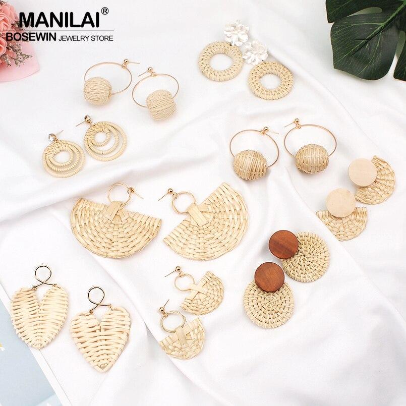 041f2f531bdec MANILAI de moda Corea pendientes para las mujeres de paja de mimbre de gota  pendientes de la joyería pendientes de declaración de mujer