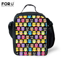 FORUDESIGNS Waterproof Cooler Insulated Lunch Bag For Children Animal Owl Puzzle Printing Student Picnic Box Portable