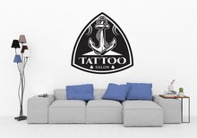 Tattoo Salon Vinyl Wall Sticker Anchor Logo Tattoo Shop Poster Studio Design Door and Window Decoration Wall Art Sticker 2WS06