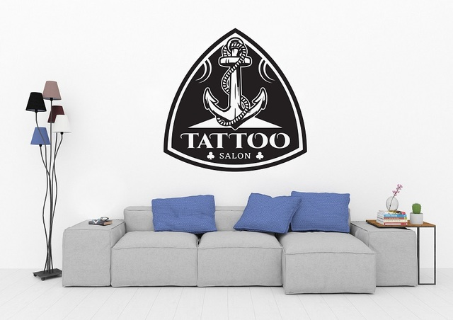 Tattoo Salon Vinyl Wall Sticker Anchor Logo Tattoo Shop Poster Studio Design Door and Window Decoration Wall Art Sticker 2WS06