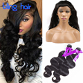360 Lace Frontal With Bundles Peruvian Body Wave 2 Bundles 8A 360 Lace Frontal Closure With Bundles Body Wave Human Hair Weaves