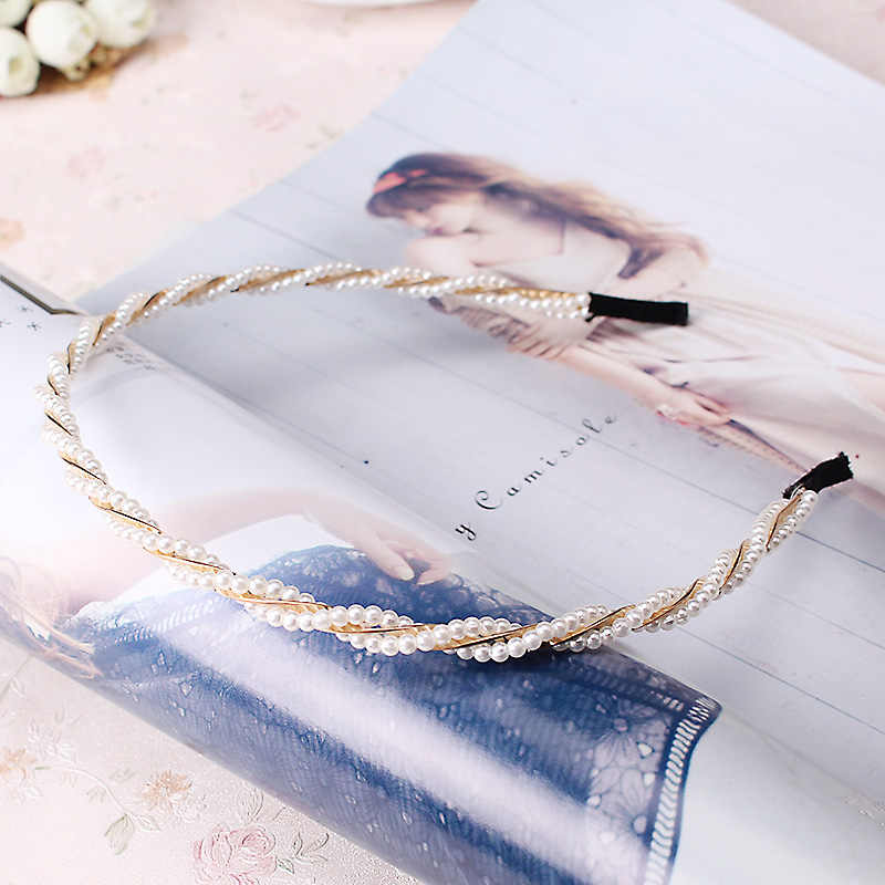 M MISM Fashion Pearl Metal Alloy Hair Bands hair Hoop Elegant Lovely Headband Headwear for Women girls hair Accessories Bow