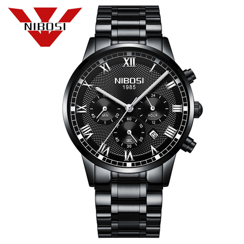 NIBOSI Fashion Men Black Stainless Steel Analog Quartz Wrist Watch Stainless Steel Bracelet Mens Watches Top Brand Luxury Clock essential nary wristwatch bangle bracelet luxury men stainless steel classical quartz analog wrist watch gift 17tue27