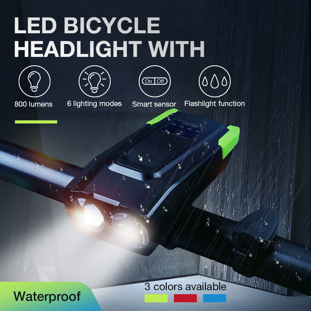 4000mAh Induction Bicycle Front <font><b>Light</b></font> <font><b>Set</b></font> <font><b>USB</b></font> Charging Flashlight Cycling Waterproof Torch Smart Headlight <font><b>Bike</b></font> Lamp With Horn image
