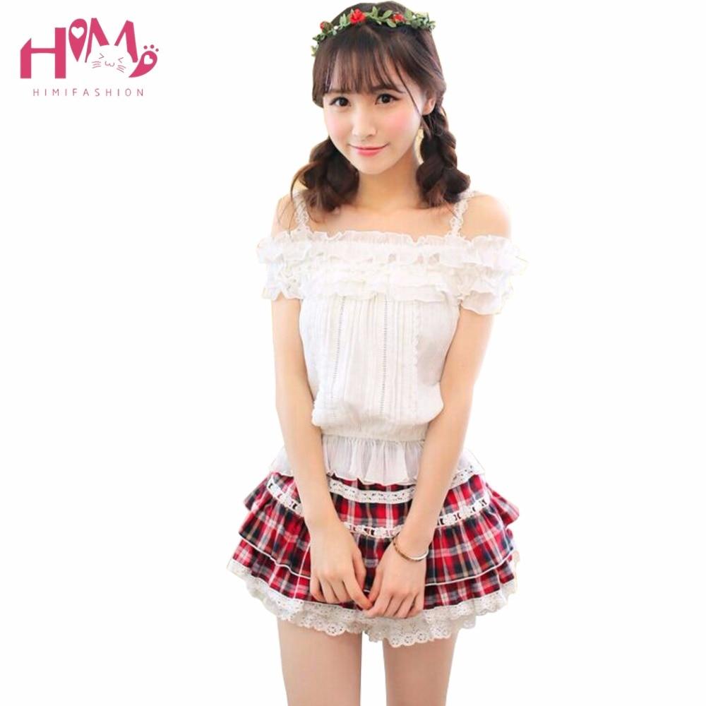 Cute Lolita Ball Gown Short Skirt Girl Sweet Preppy Plaid Lace Rubber Skirt Women Cotton Magazine Cover Layers 2017 Summer Skirt