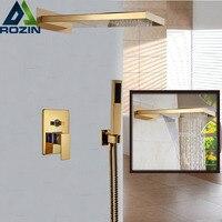 Настенное крепление Одной ручкой Водопад дождь смеситель для душа михе кран с ручной душ Золотой Цвет