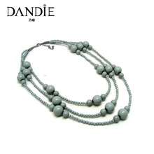 Dandie Three Layer Acrylic Bead Handmade Necklace, Fashion Jewelry For Women