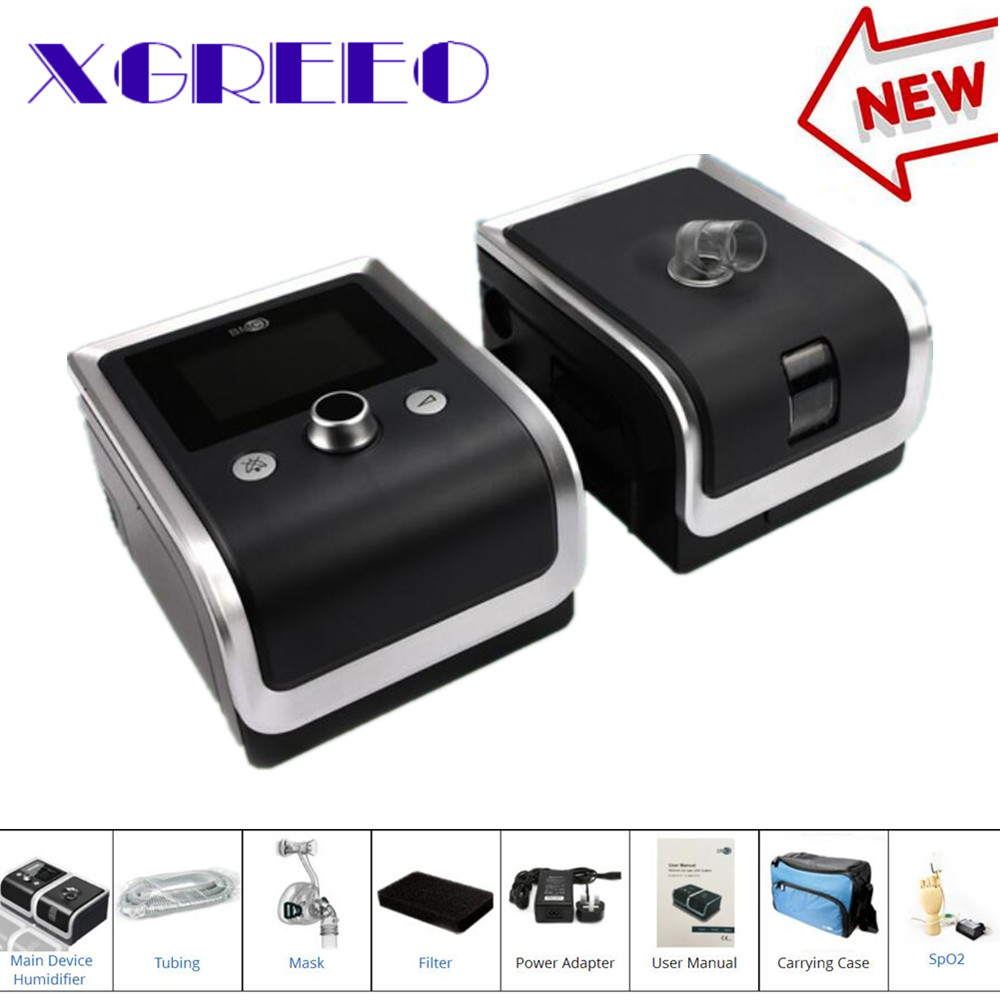 BMC XGREEO GII BPAP T-30T Bilevel électrique CPAP Machine pour l'apnée avec oxymètre de pouls doigt humidificateur de tuyau de masque facial complet
