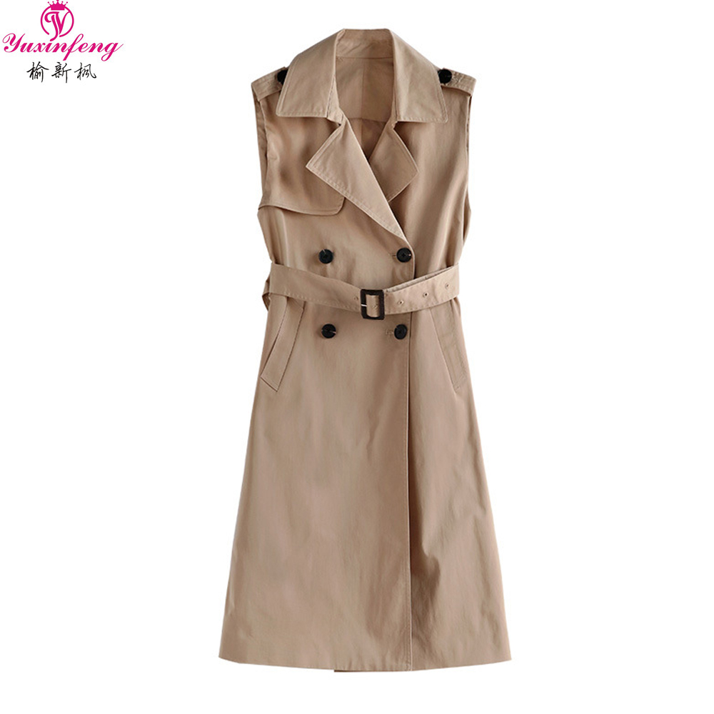 Yuxinfeng Spring Autumn Women Long Vest Casual Loose Double Breasted Lapel Sleeveless Trench Jacket Coat Fashion Waistcoat