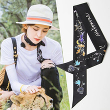 LEAYH Brand Tarot Double-Layer Print Twill Silk Small Skinny Scarf For Women Bag Handle Strap Female Fashion Hair Ribbons