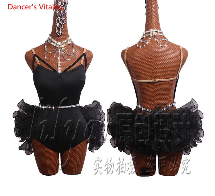 Women Latin Dance Dress Adult Female Salsa Dance Stage Performance Competition Clothes New Fishbone Coiling Dress