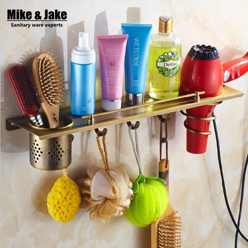 Bathroom antique brass bathroom shelf with hair dryer holder bathroom shelf with hooks basket for bathroom holder купить