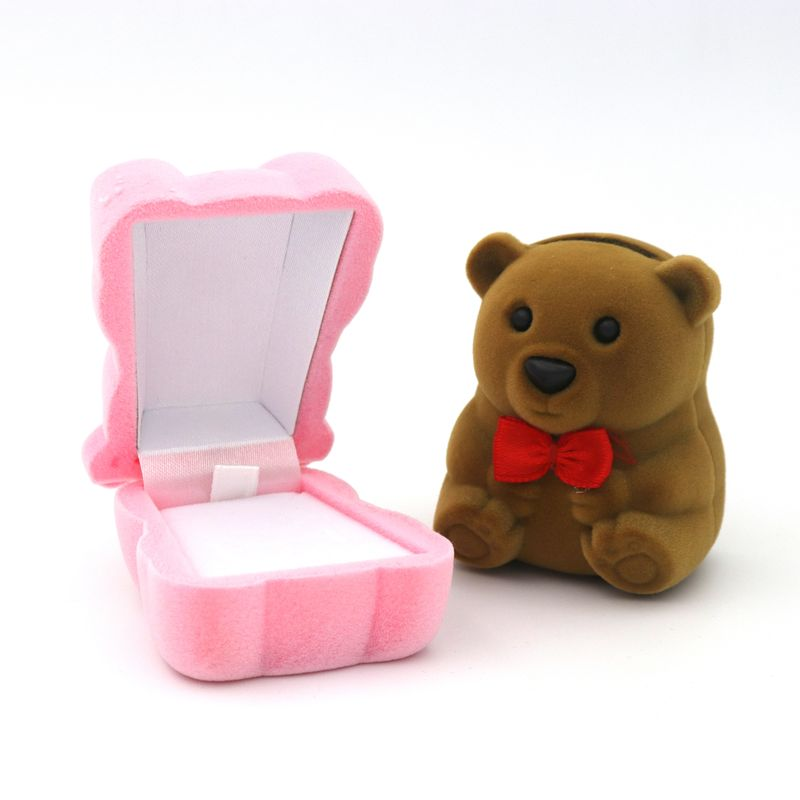 1 Piece Velvet Bear Stand For Earrings Ring Necklace Jewelry Packaging Gift Box Wedding Engagement Display Holder Wholesale