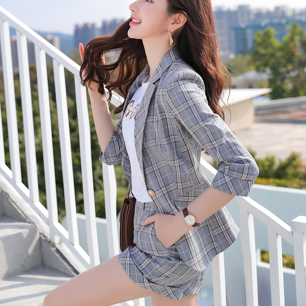 Fashion Women New 2 Piece Set Summer Three Quarter Sleeve Pant Suit Size S-4XL Pink Striped Jacket And Trouser Set