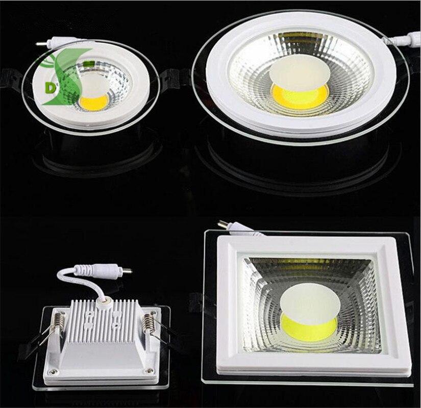 5 Вт 10 Вт 15 Вт удара светильники встраиваемые Стекло крышка затемнения панели AC85-265V круглый/квадратный пятно света три цвета изменить