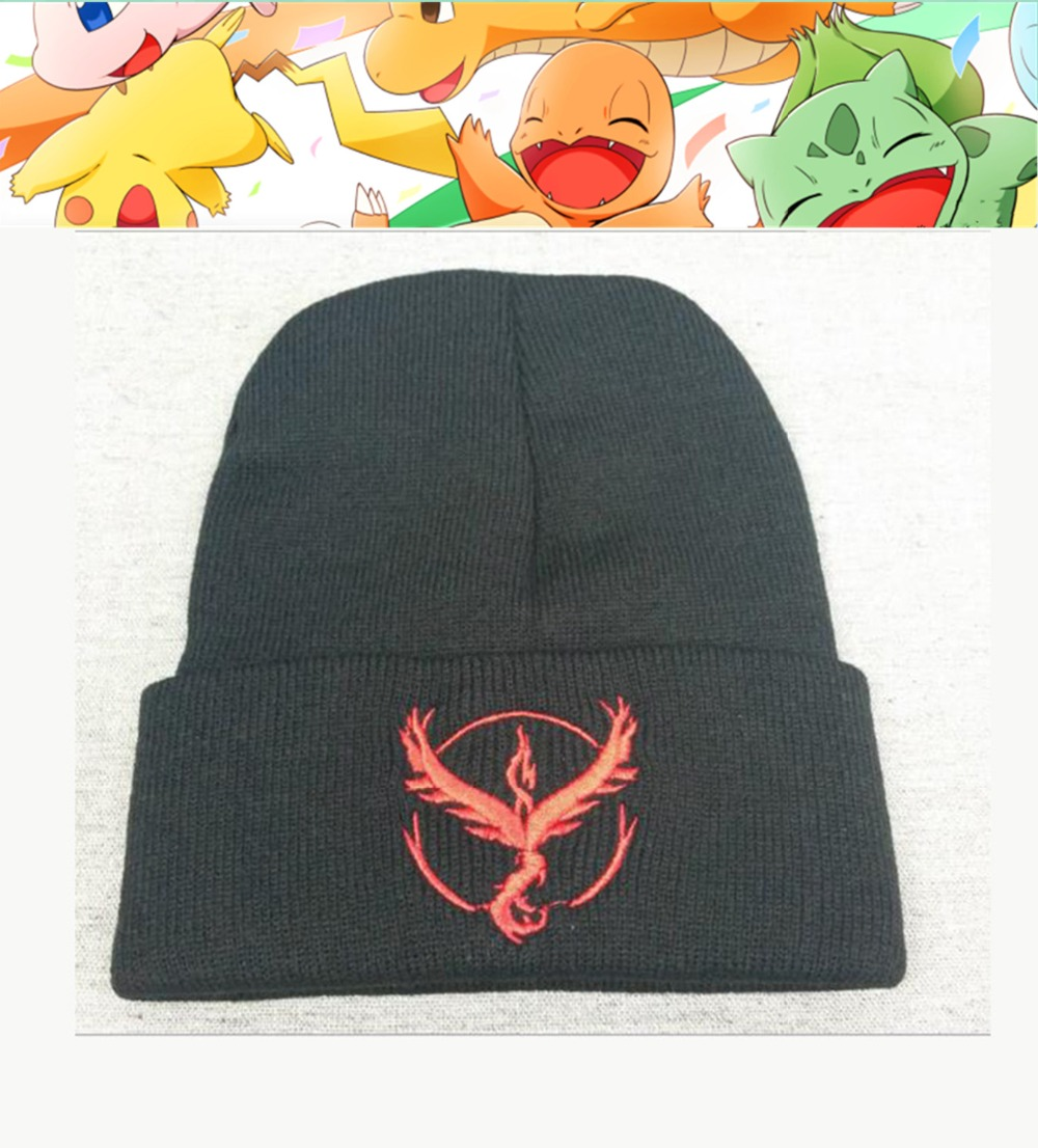 Game Pokemon Go Hats Team Valor Mystic Instinct Logo Beanie Hat Knit Cap Unisex Adjustable Cosplay Costume