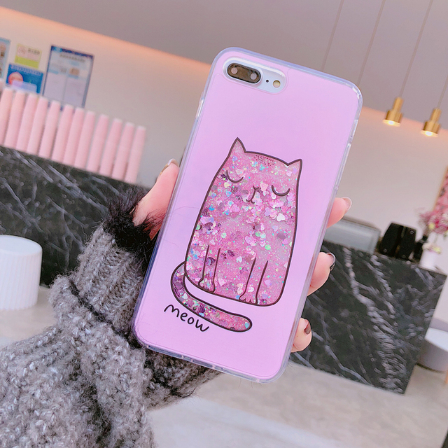 quality design df663 22519 US $3.26 |Cute Fat cat Glitter Star Flowing Water Liquid Case for iPhone 8  7 7 Plus PC+Soft TPU Cover Phone cases for iPhone X 6 6S Plus-in Fitted ...