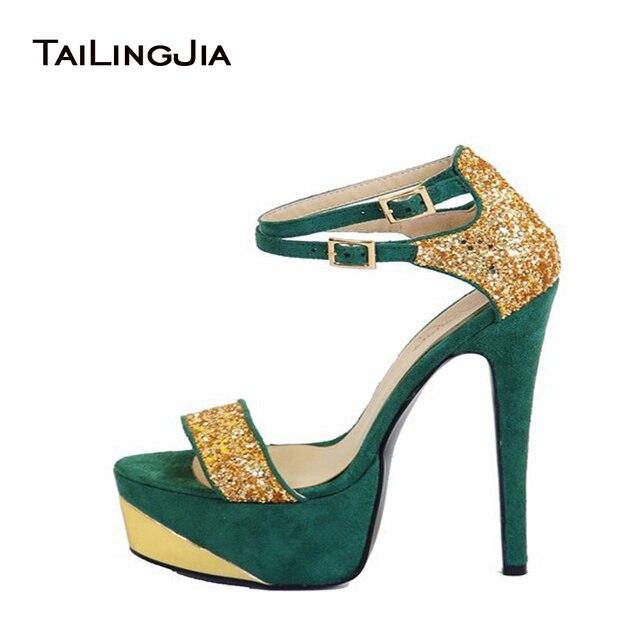 Women Sandals 2017 Peep Toe Caged Heeled Ankle Buckle High Heels Women  Shoes Metallic Upper Super Star Shoes Size4-15 3b8e8d9bd22c