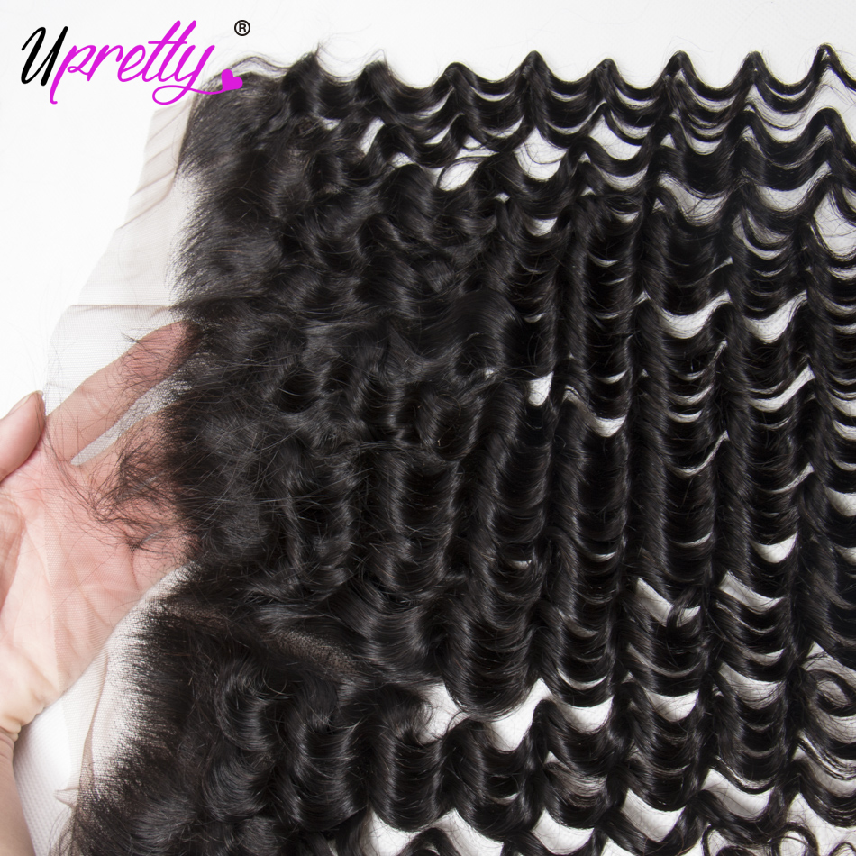 Upretty Hair Deep Wave Bundles With Frontal Malaysian Hair 3 Bundles With Frontal Remy Human Hair Bundles With Frontal For Sale