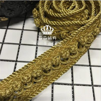 1pcs=1yard Handmade lace hand woven ribbon golden buckle lace luxury shoulder ornaments clothes jewelry lace