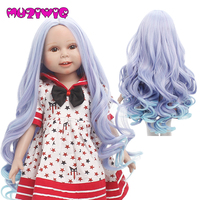 50% off Ombre Blue Purple Long Hair Doll Wig Korea High Temperature Fiber Doll Wigs Made for 18 American Doll