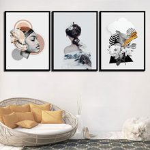 Nordic Canvas Geometric Poster Prints Flower Woman Paintings Wall Art Abstract Snow Mountain Pictures For Kids Room Home Decor(China)