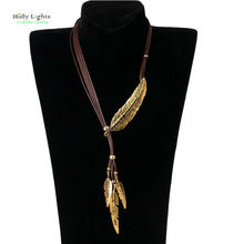 women trendy vintage feather bohemian necklace&pendants antique gold wax chain crystal leaf charms boho choker collar jewelry