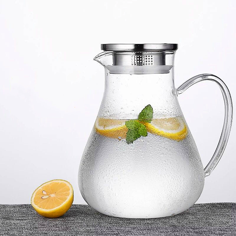1900ml large capacity cold kettle thick glass teapot transparent juice pot home multi-function kettle can be directly heated