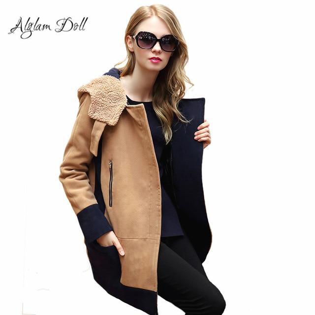 a63b38a09607c Alglam Doll Winter Hooded Jacket Women Ladies Outerwear Wool   Blends Autumn  Hoodie Tweed Padding Parka