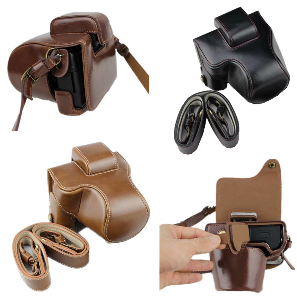 PU Leather Camera Bag CaseFor Canon EOSM50 EOS M50 Camera Protective Skin Cover With Shouder Strap