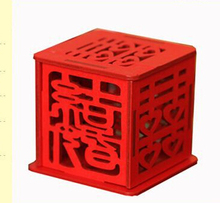 50pcs unique chinese style vintage novelty items red square wooden love wedding candy boxes Gift party favors sugar supply