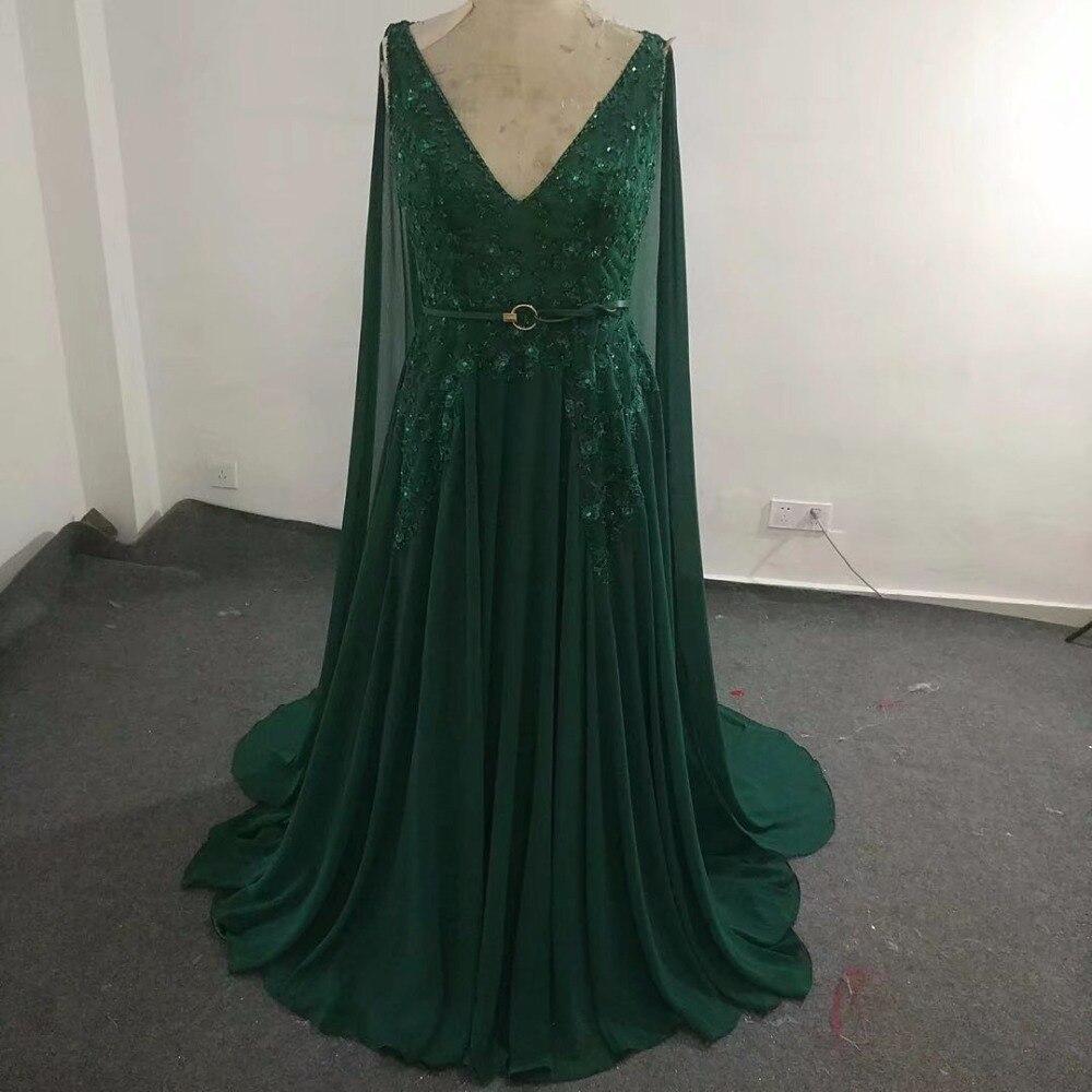 Elie_Saab robe de demoiselle d'honneur vert noirâtre perspective bretelles transparentes col en V longueur Court train cristal perlé mousseline de soie - 3